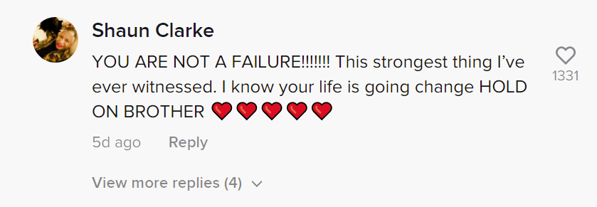 A user's comment on Michael Walker's appeal for funds for his family. | Photo: tiktok.com/yamainmanmike20