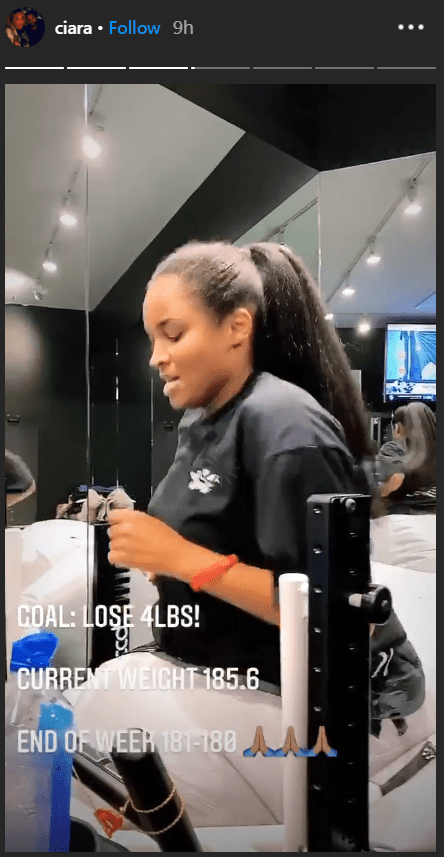 Ciara works out on her Instagram stories, September 2020 | Photo: Instagram/ciara