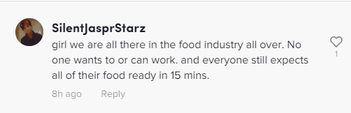 A comment from the viral video of a Starbucks worker sobbing in her car | Photo:Tiktok.com/@rachelkeaton