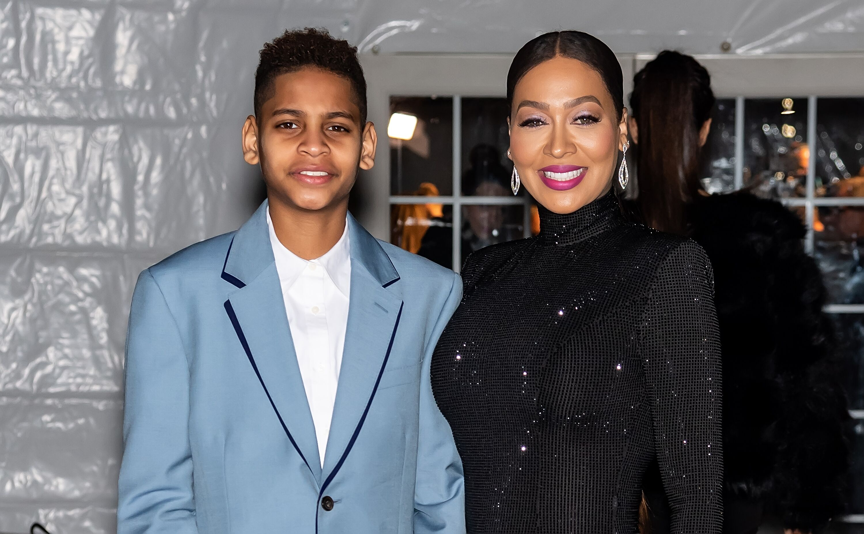 Kiyan Carmelo Anthony and La La Anthony are seen arriving to the 2020 amfAR New York Gala at Cipriani Wall Street on February 05, 2020 in New York City. | Source: Getty Images