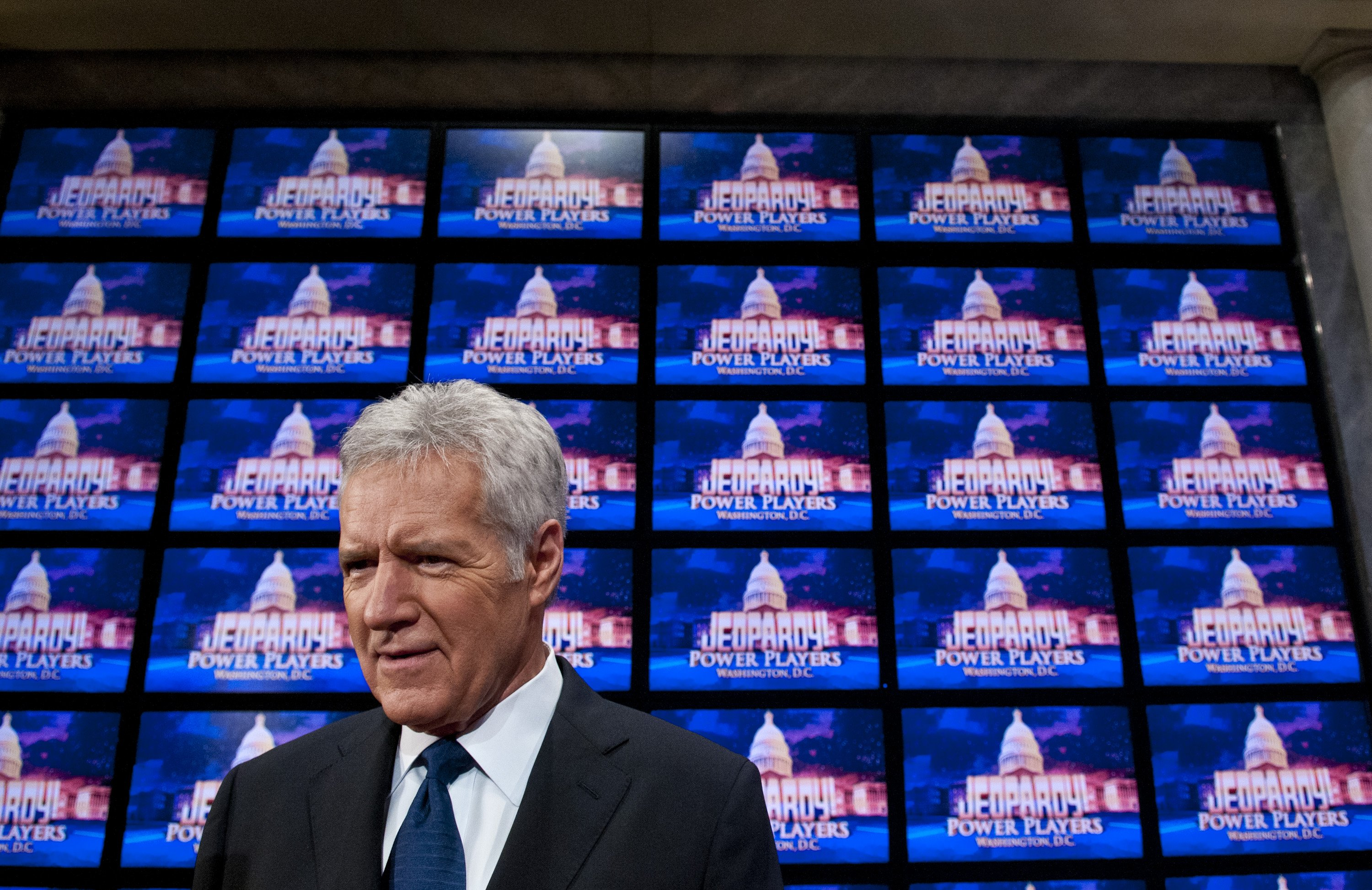 "Alex Trebek speaks before taping ""Jeopardy"" in Washington, DC on April 21, 2012 