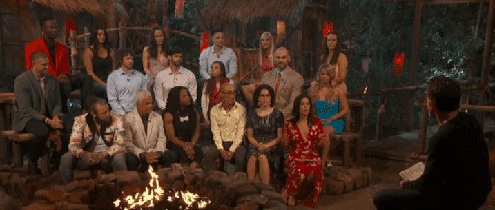 "Jeff Probst talks to contestants of season 38 of ""Survivor"" during the reunion special on December 18, 2019. 