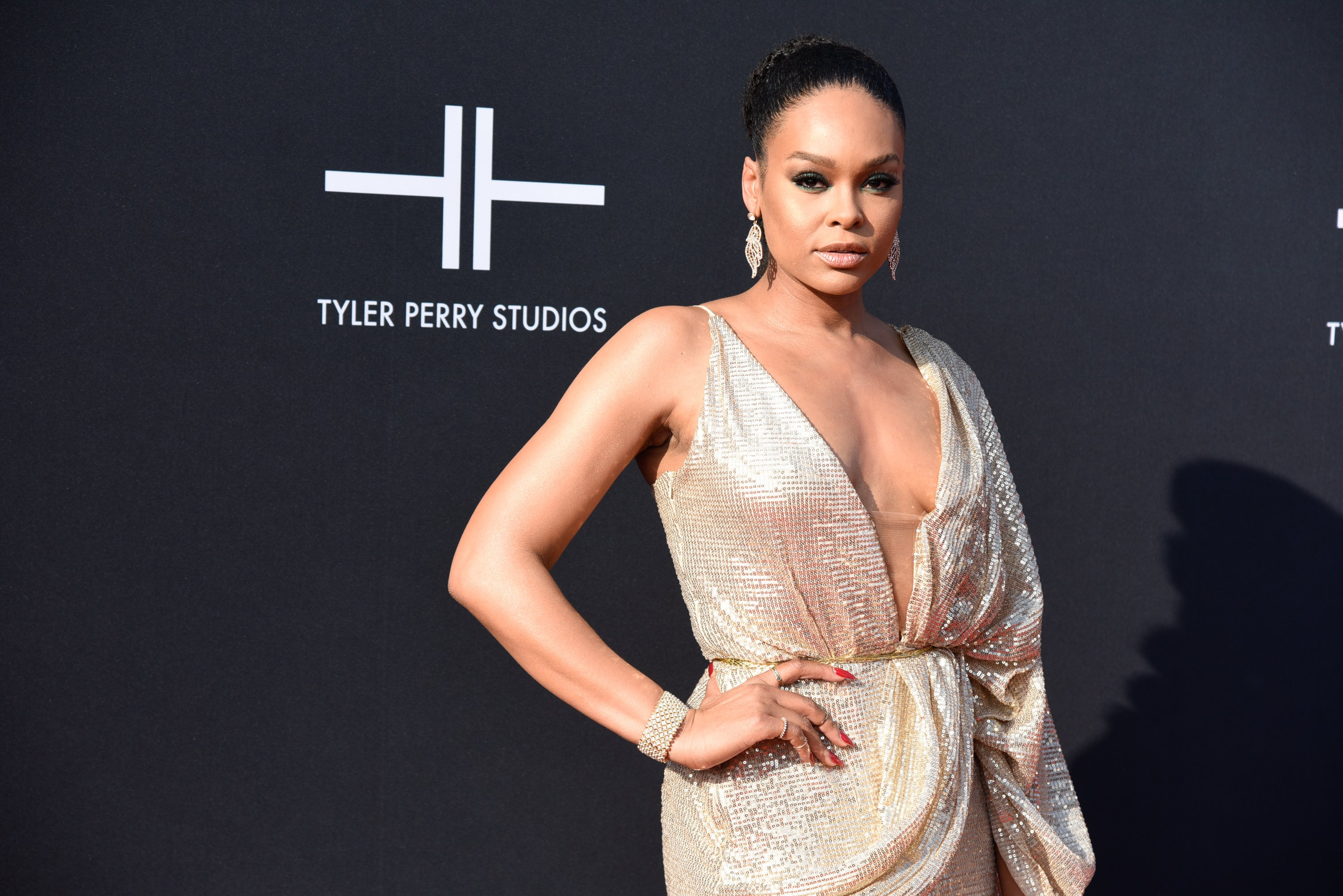 Demetria McKinney attends Tyler Perry Studios grand opening gala on October 05, 2019   Photo: Getty Images