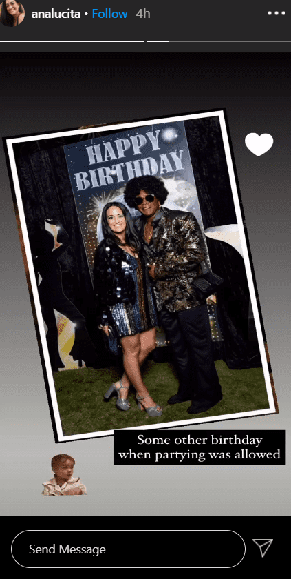 A photo of Ahmad Rashad and his wife Ana Luz partying at one of his older birthdays.   Photo: Instagram/Analucita