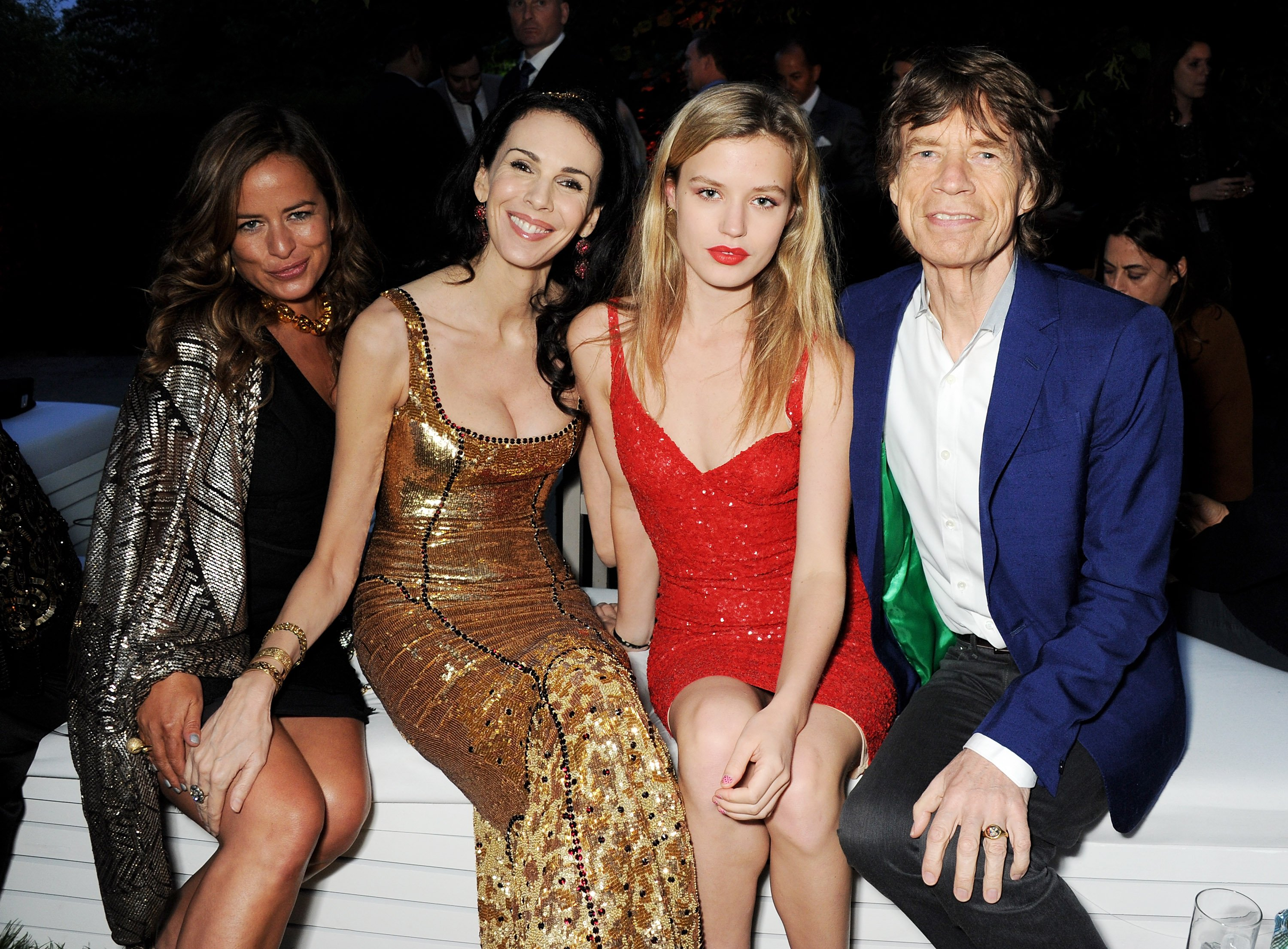 Jade Jagger, L'Wren Scott, Georgia Jagger and Mick Jagger at the annual Serpentine Gallery Summer Party on June 26, 2013 in London, England. | Photo by Dave M. Benett/Getty Images