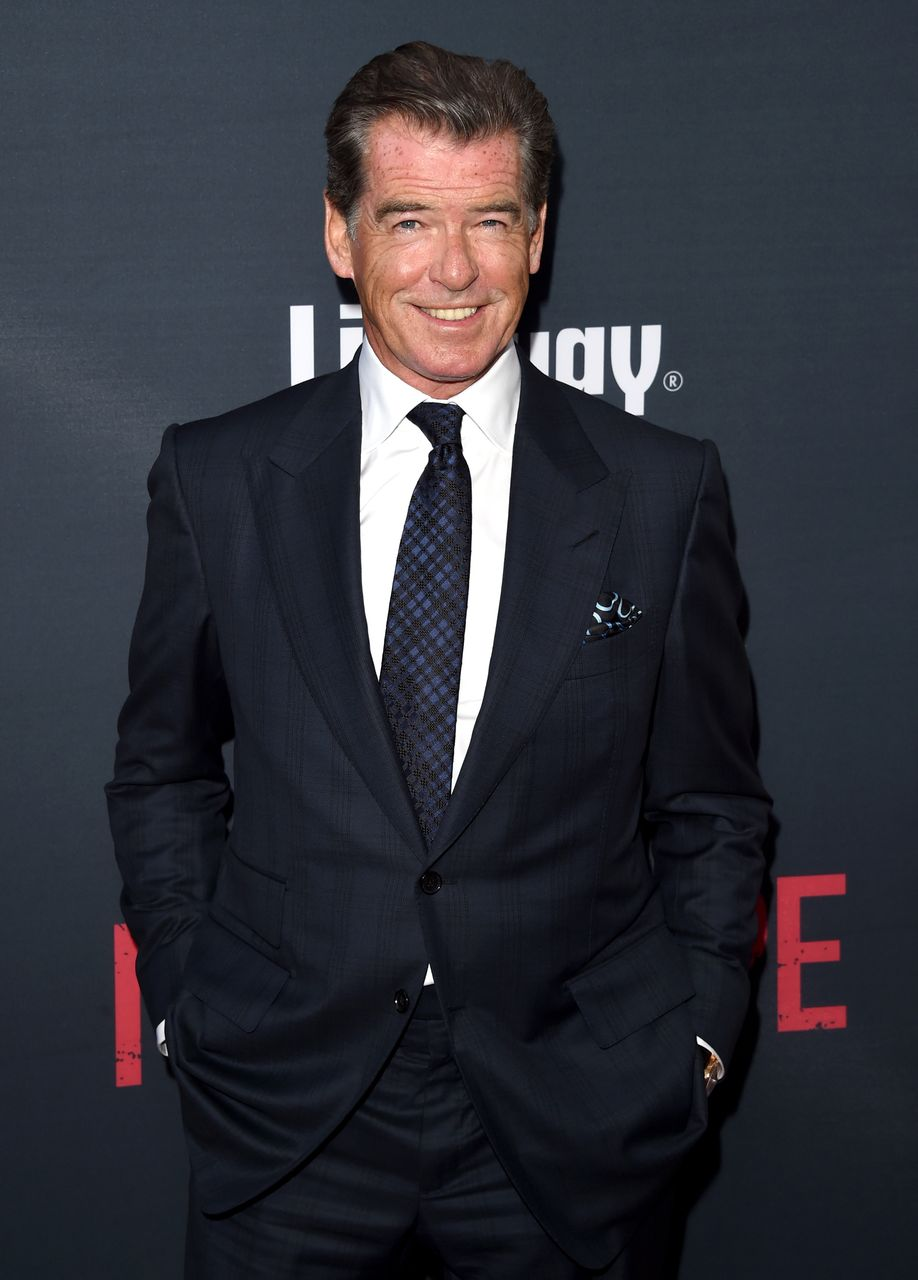 """Pierce Brosnan during the premiere of the Weinstein Company's """"No Escape"""" at Regal Cinemas L.A. Live on August 17, 2015. 