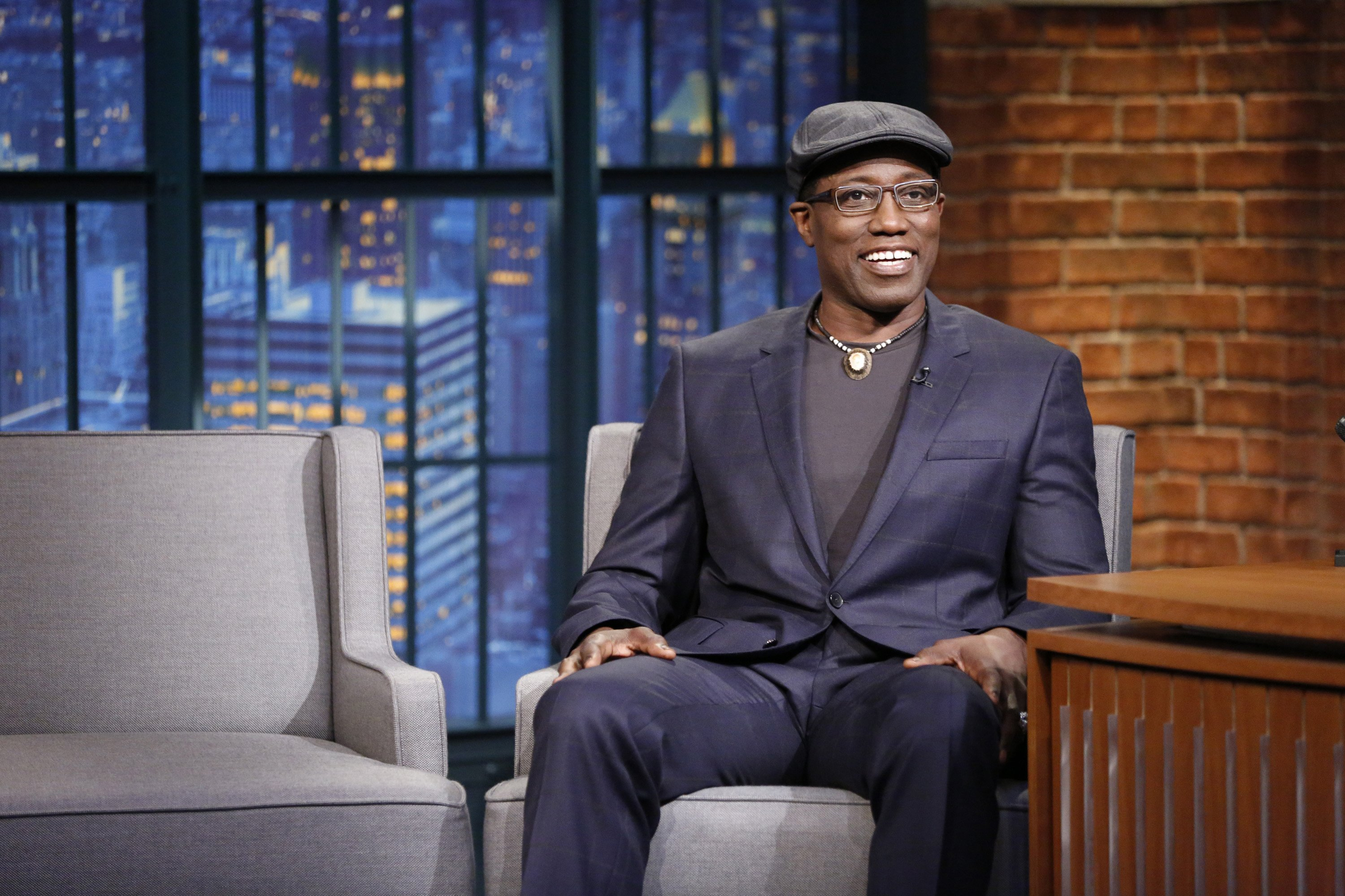 "Wesley Snipes during an interview on ""Late Night with Seth Meyers,"" on September 21, 2015 