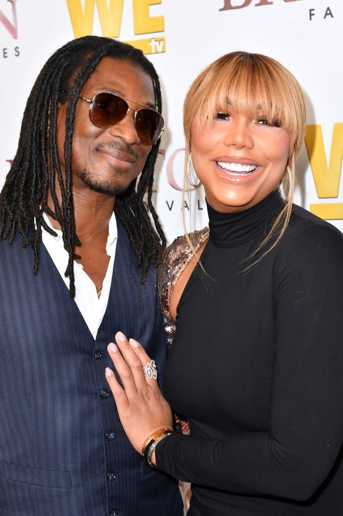 """David Adefeso and Tamar Braxton are seen as We TV celebrates the premiere of """"Braxton Family Values"""" at Doheny Room 