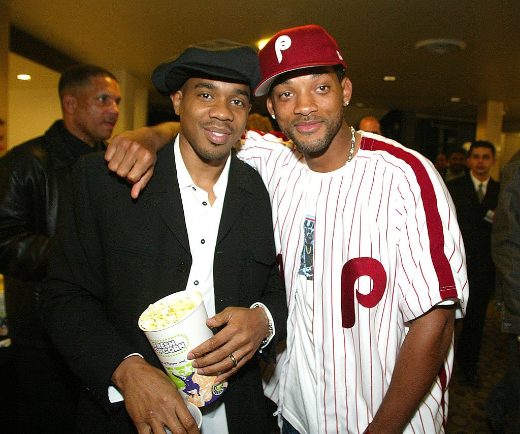 """Actors Duane Martin and Will Smith pose for photos at the premiere of """"Deliver Us From Eva"""" at the Cinerama Dome and after-party at the Sunset Room on January 29, 2003  