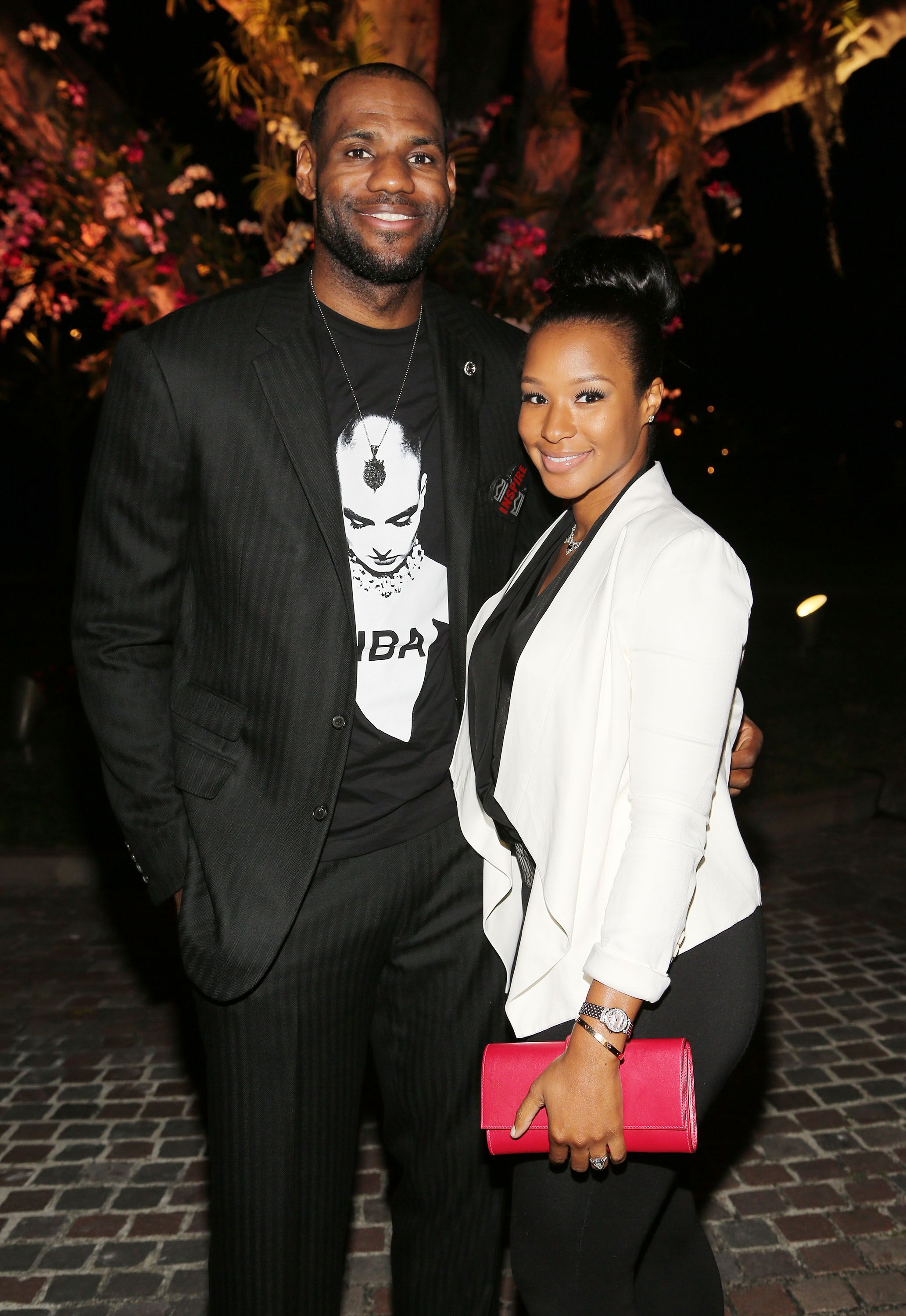 "LeBron James and Savannah Brinson attend the Miami HEAT Family Foundation night of ""Motown Revue"" on February 27, 2013 in Miami, Florida 