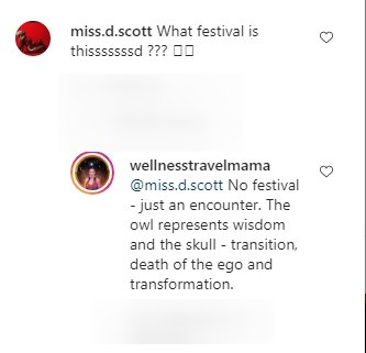 A screenshot of a fan's comment on Shannon Amos's post and Shannon's reply on her Instagram page | Photo: Instagram.com/wellnesstravelmama/