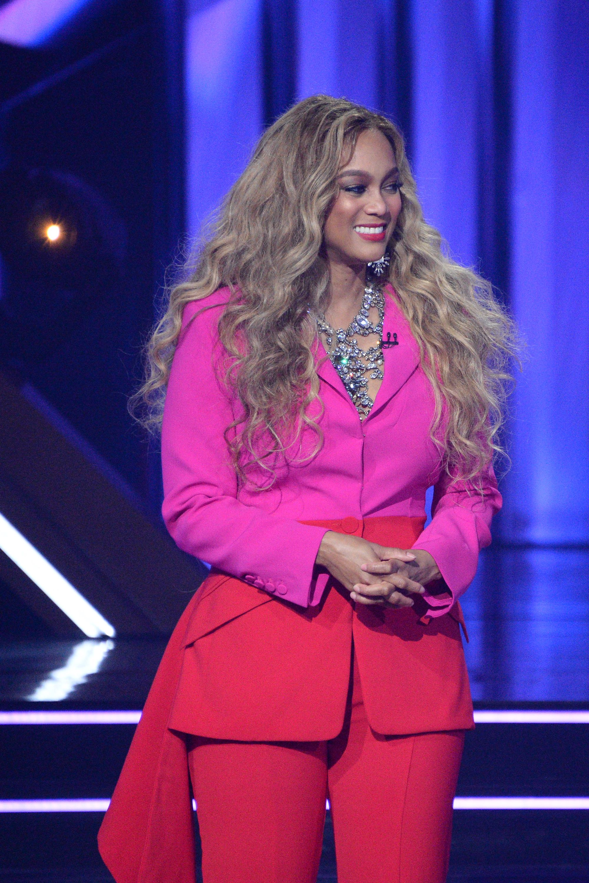 """Tyra Banks donned a pink and orange jumpsuit during the season 29 premiere of """"Dancing With The Stars."""" 