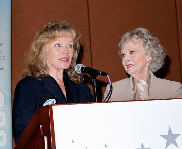 June Lockhart and Marta Kristen at the Universal Hilton Hotel on March 26, 2015 | Photo: Getty Images