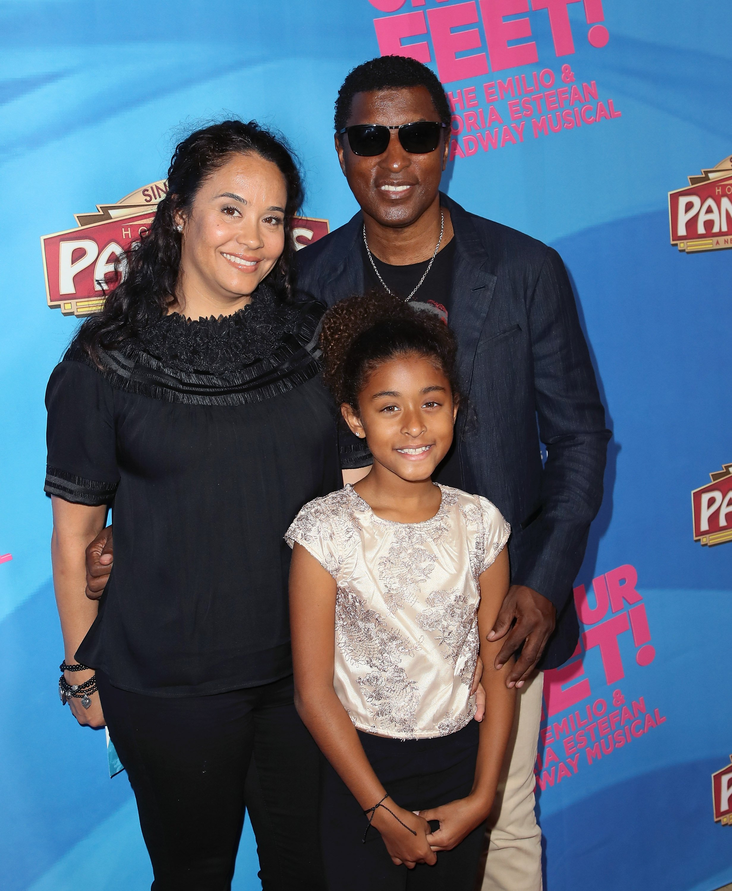 "Babyface, his wife, Nicole Patenburg and their daughter, Peyton at the celebration of ""On Your Feet"" Broadway musical in July 2018. 