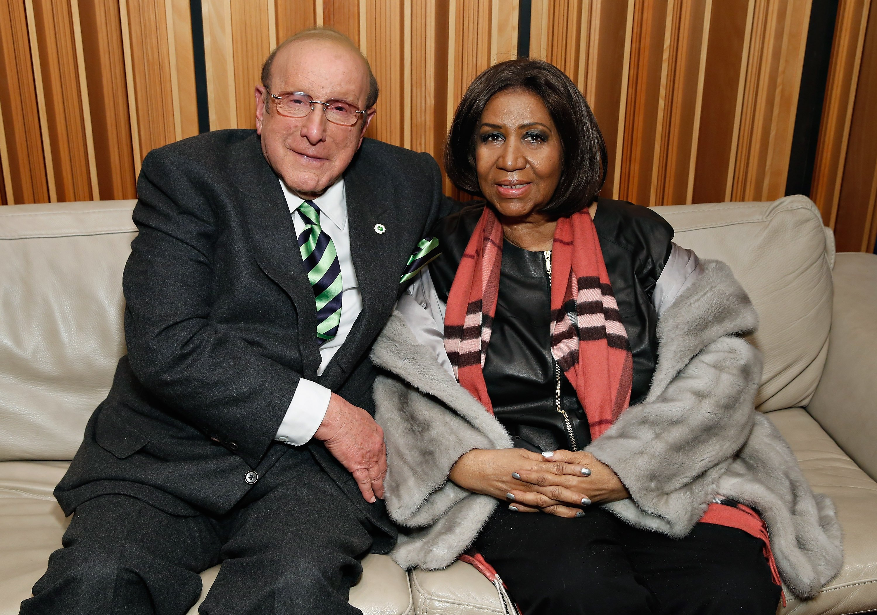 "Aretha Franklin & Clive Davis discuss ""Aretha Franklin Sings the Diva Classics"" on SiriusXM's Heart & Soul Channel in New York City on Dec. 10, 2014 