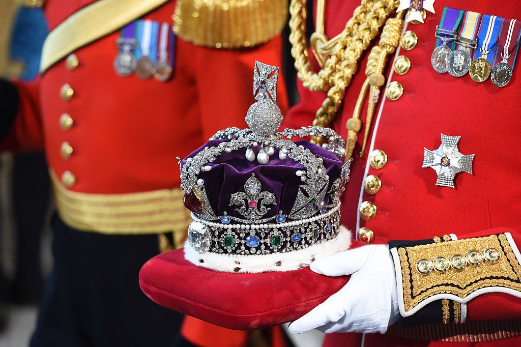 Queen Elizabeth's Imperial State Crown at the State Opening of Parliament in the House of Lords, at the Palace of Westminster in 2015 in London, England | Source: Getty Images