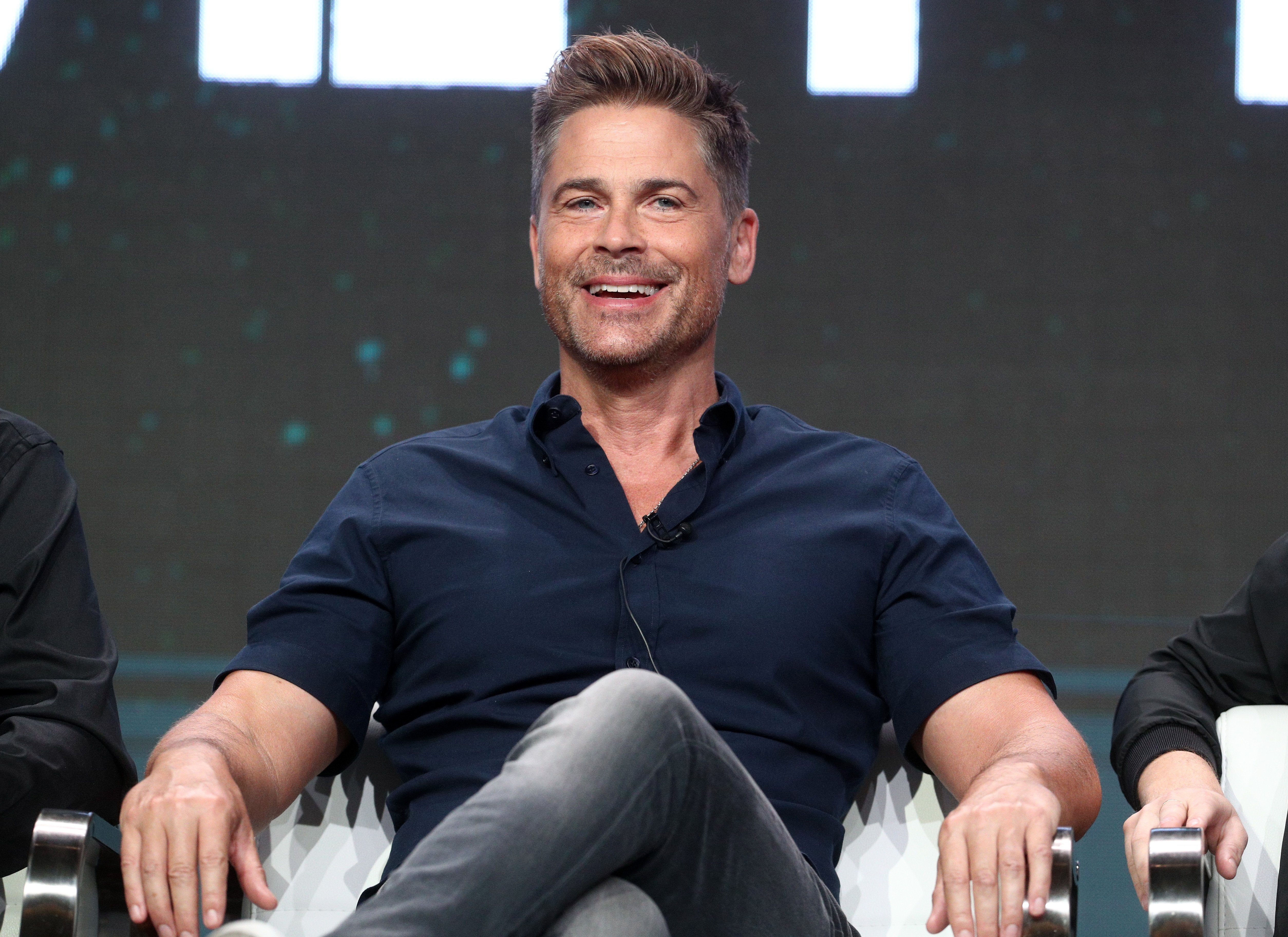 """Rob Lowe pictured onstage during the A+E portion of the screening of """"The Lowe Files."""" 2017, California. 