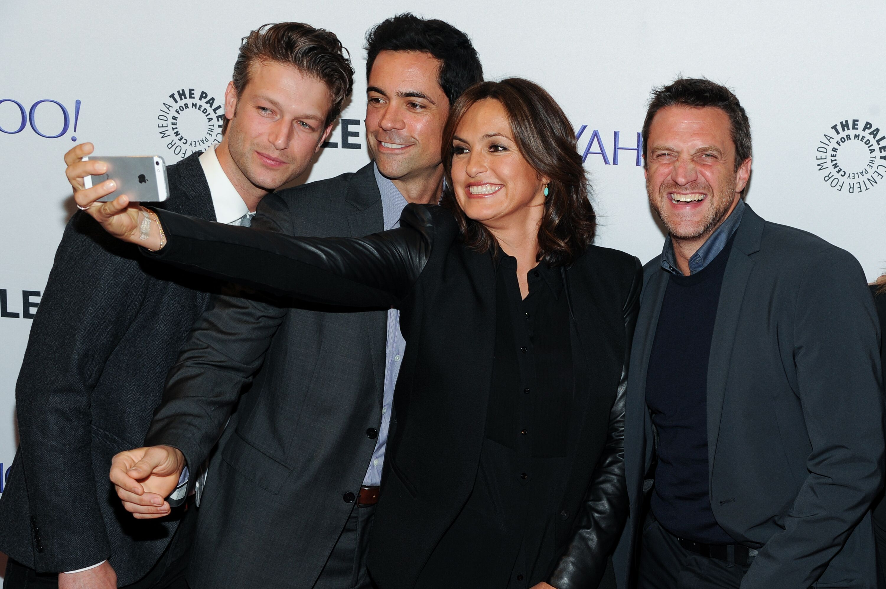 """Peter Scanavino, Danny Pino, Mariska Hargitay and Raul Esparza at the 2nd Annual Paleyfest """"New York Presents; Law & Order: SVU"""" in 2014 