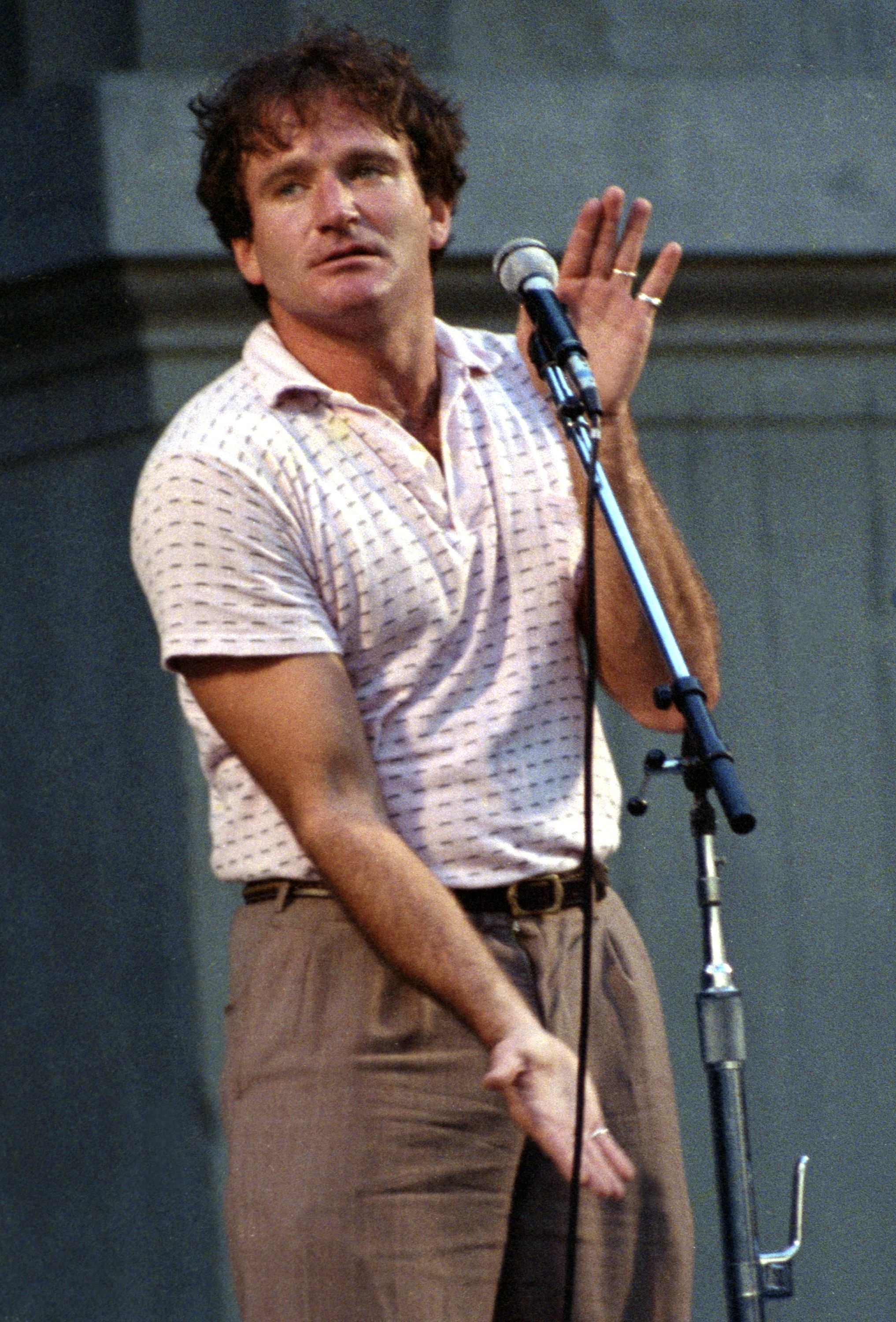 Robin Williams performs during the Bread and Roses benefit concert. | Source: Getty Images