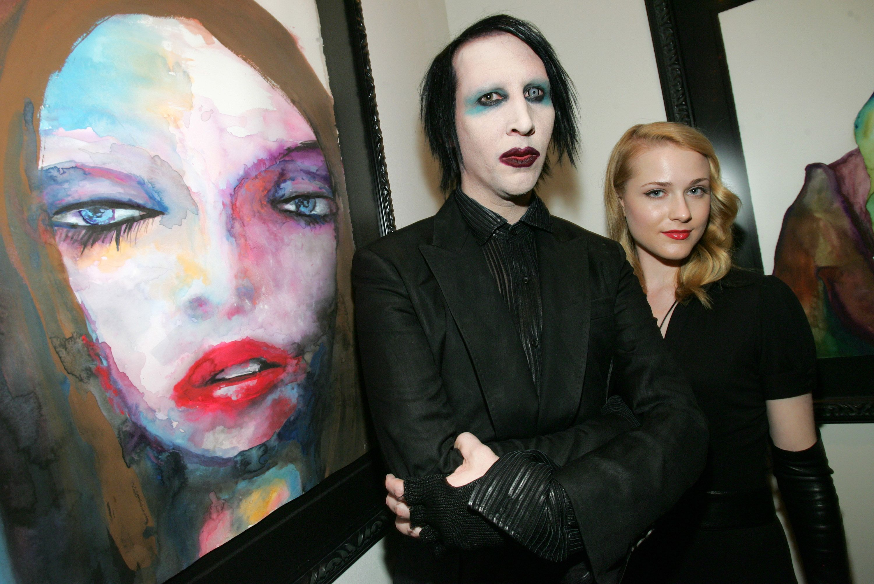 Marilyn Manson and actress Evan Rachel Wood at an art exhibition | Source: Getty Images