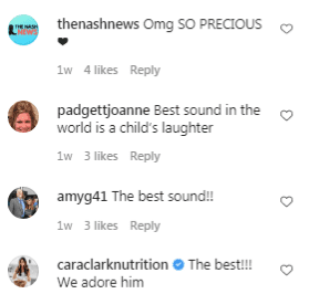 Fan comments on Mike Fisher and Carrie Underwood's son Isaiah's laughter. | Source: Instagram/mfisher1212