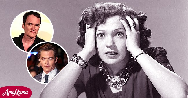 Actress Anne Gwynne in a scene from one of her movies. Inset: Quentin Tarantino and Chris Pine   Source: Getty Images