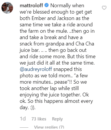 Matt Roloff's comment on his Instagram post | Photo: Instagram/mattroloff