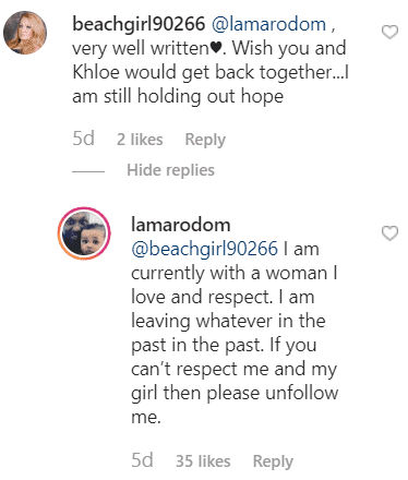 Comment from Lamar Odom's Instagram post | Photo: Instagram/lamarodom