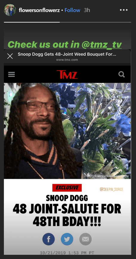 A screenshot of Snoop Dogg's cannabis bouquet as seen on TMZ's article | Source: TMZ