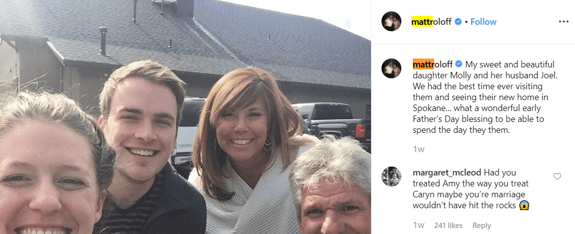 Matt Roloff's epic reply to an Instagram hater who called him out for not treating his ex-wife Amy Roloff well. | Photo: Instagram/Matt Roloff