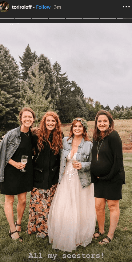 The Roloff sisters posing at the wedding of Jacob Roloff and Isabel Rock | Photo: instagram.com/Toriroloff