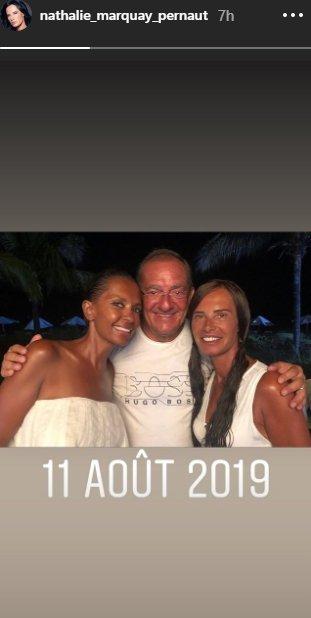Jean-Pierre Pernaut et son épouse Nathalie avec Karine Le Marchand en vacances.   Photo : nathalie_marquay_pernaut/Instagram
