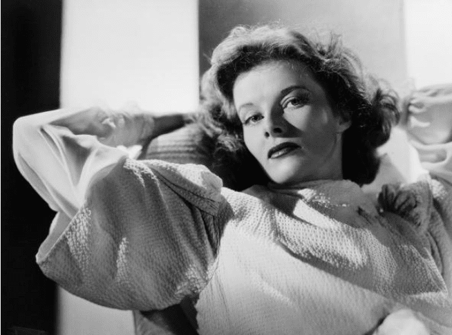 Katharine Hepburn relaxes with her hands behind her head, circa 1938.   Photo: Getty Images