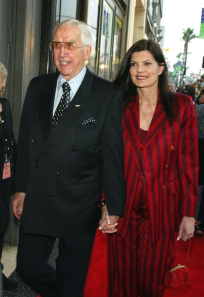 """Ed McMahon and his wife arrive at the opening night of Mel Brooks' """"The Producers"""" at the Pantages Theatre on May 29, 2003, in Los Angeles, California. 