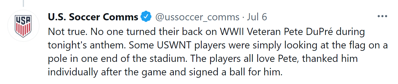 The U.S. Soccer Communications Department responding to a Tweet by the Post Millennial. │ Source: twitter.com/ussoccer_comms ussoccer_comms