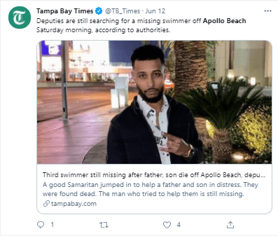 The Tampa Bay Times reported on the incident.   Photo:Twitter/TB_times