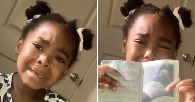 Nala can be seen crying as she holds her mom's passport, thinking she's an alien. | Photo: twitter.com/IamKiraJ