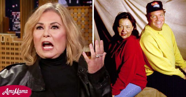 Portrait of Roseanne Barr and Tom Arnold in Ames, Iowa , on March 14, 1992 and Barr in an interview with Jimmy Fallon from May 2018   Photo: Getty Images - YouTube/The Tonight Show Starring Jimmy Fallon