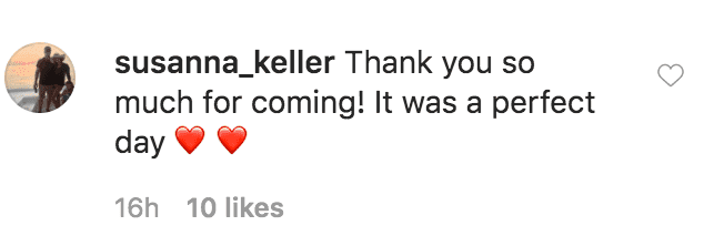 Susanna Keller comments Anna Duggar's post and thanked her and Josh Duggar for coming to her wedding with York Bridges | Source: instragm.com/annaduaggar