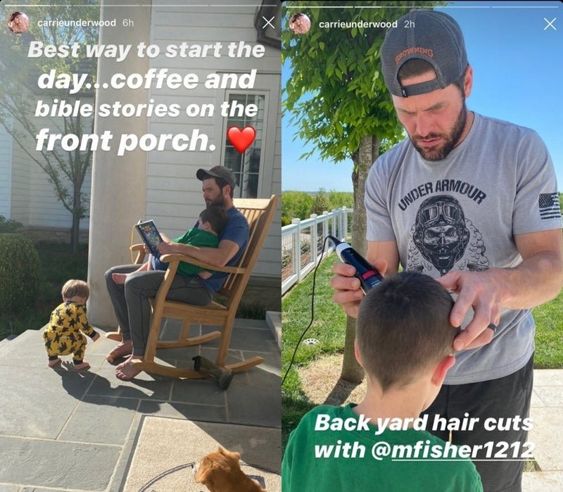 Carrie Underwood posts images of her husband Mike Fisher cutting their son's hair at home amid the novel coronavirus pandemic. | Source: InstagramStories/carrieunderwood