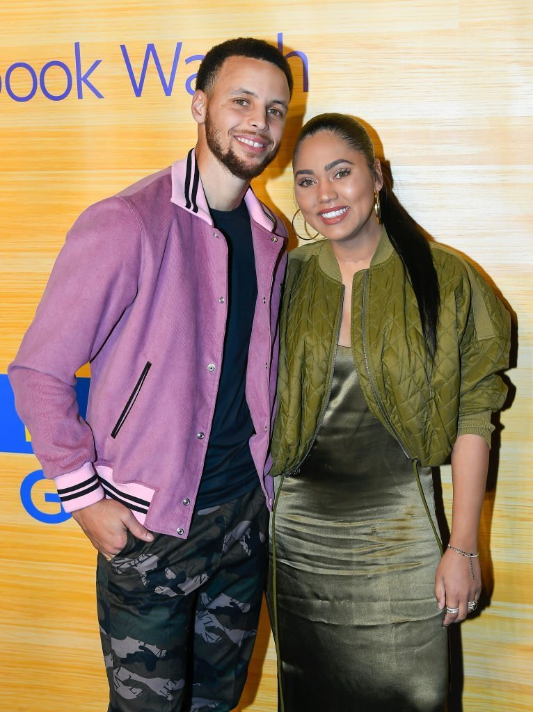"Sonya Curry, NBA Player Stephen Curry of the Golden State Warriors and Ayesha Curry at the ""Stephen Vs The Game"" Facebook Watch Preview on April 1, 2019. 
