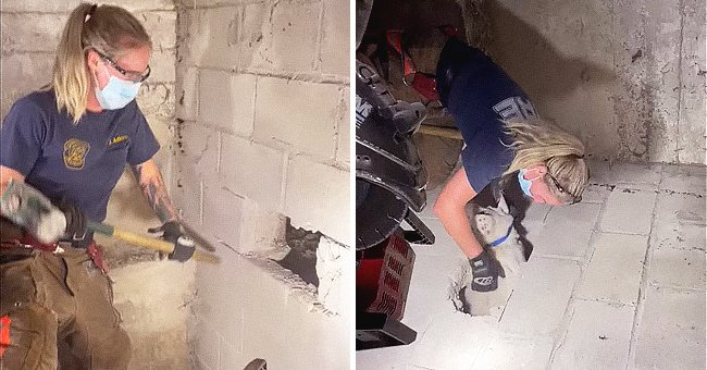 A firefighter using a sledgehammer to break through a wall in order to rescue a dog. | Source: facebook.com/Cincinnati.Fire.Department