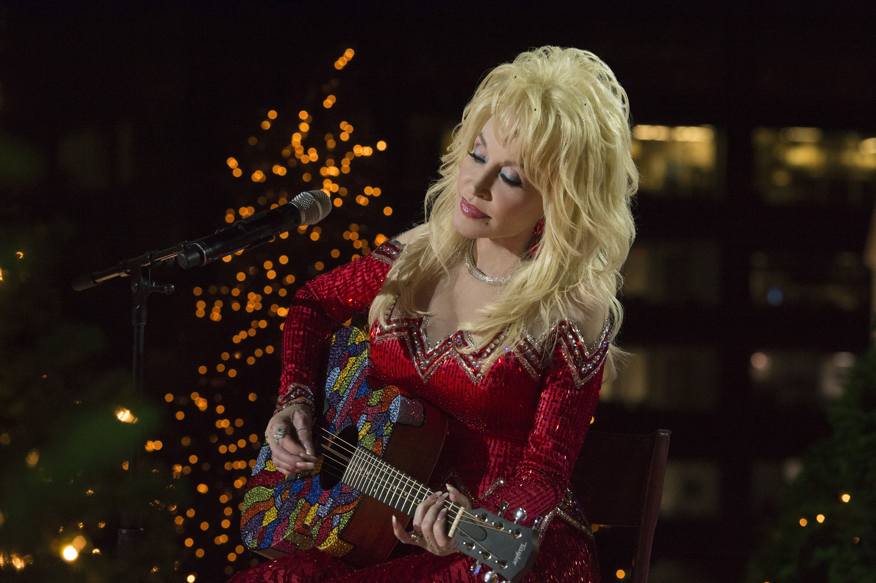 Dolly Parton rehearses for the 2016 Christmas in Rockefeller Center.   Source: Getty Images