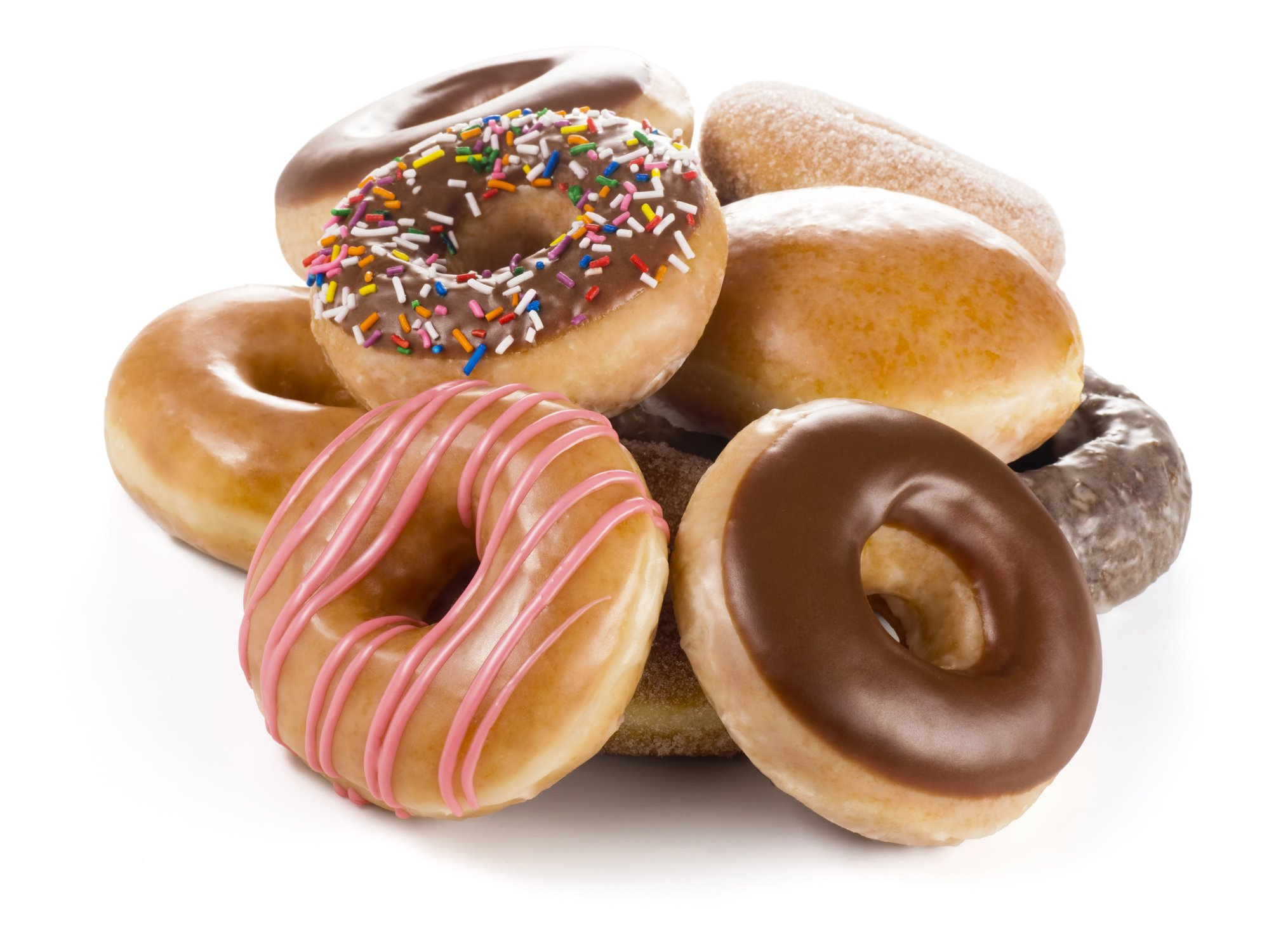 Close-Up Of Donuts Against White Background   Photo: Getty Images