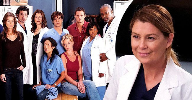 """Pictured: (Standing) Isaiah Washington, Ellen Pompeo, Patrick Dempsey, Kate Walsh, T.R. Knight, Justin Chambers, Chandra Wilson, James Pickens, (Sitting) Sandra Oh and Katherine Heigl star on """"Grey's Anatomy,"""" the second photo shows a close-up of Pompeo in a white coat 