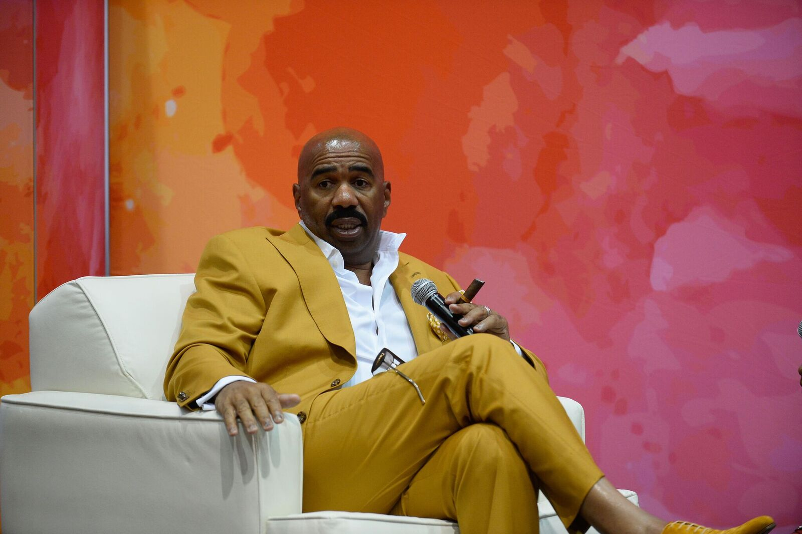 Television personality and host Steve Harvey speaks at the State Farm Color Full Lives Art Gallery during the 2016 State Farm Neighborhood Awards at Mandalay Bay Resort and Casino on July 22, 2016 | Photo: Getty Images