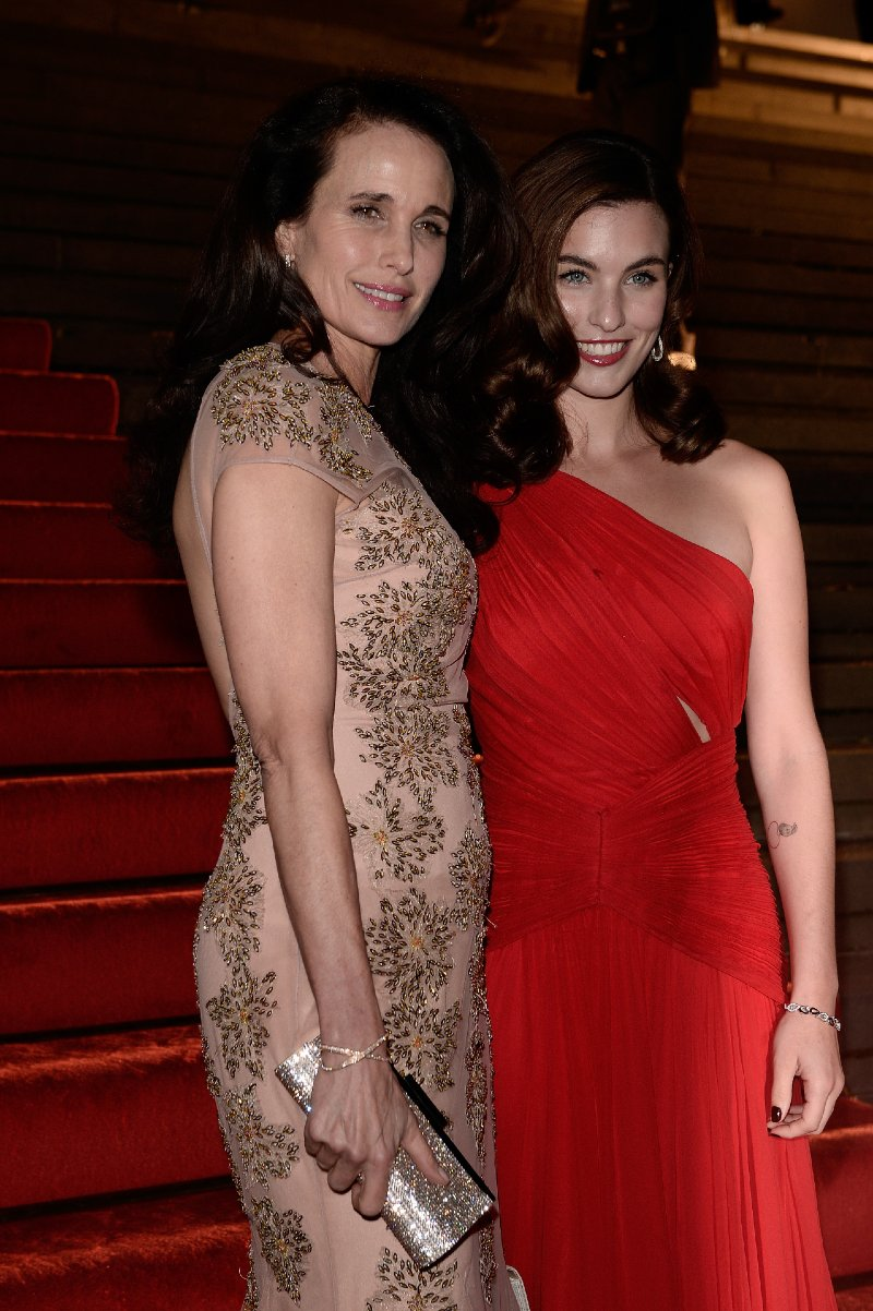 Andie MacDowell and Rainey Qualley arriving for Prix Montblanc in Berlin, Germany, in October 2013.  Image: Getty Images.