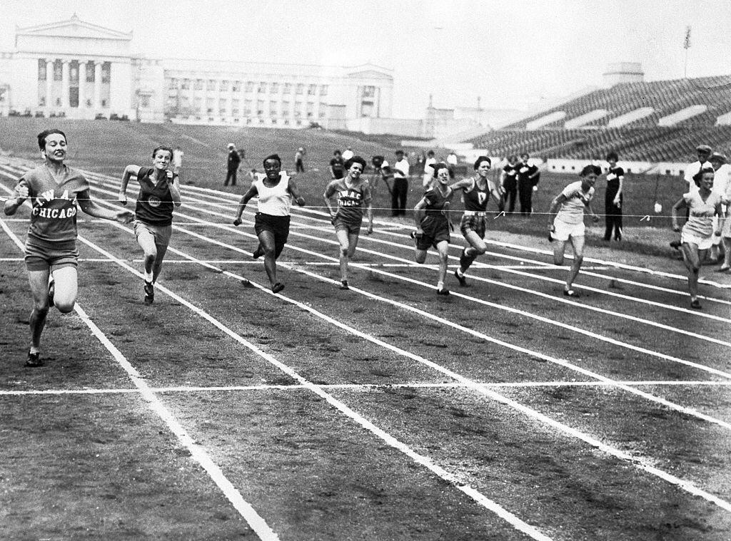 Betty Robinson breaking the tape in the 50 yard dash in the record breaking time of 5 4/5 seconds in the Women's AAU Championships in Chicago on July 28, 1929   Photo :Getty Images