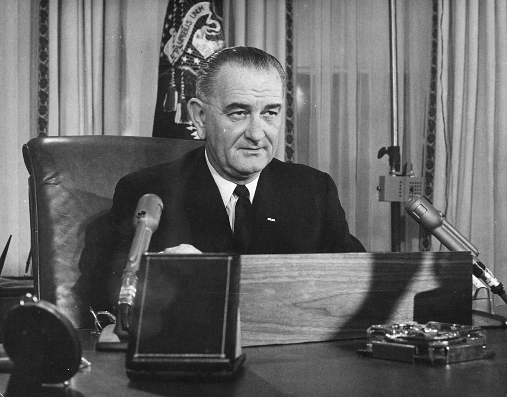 American President Lyndon Baines Johnson addresses the nation on December 02, 1963.   Photo: Getty Images