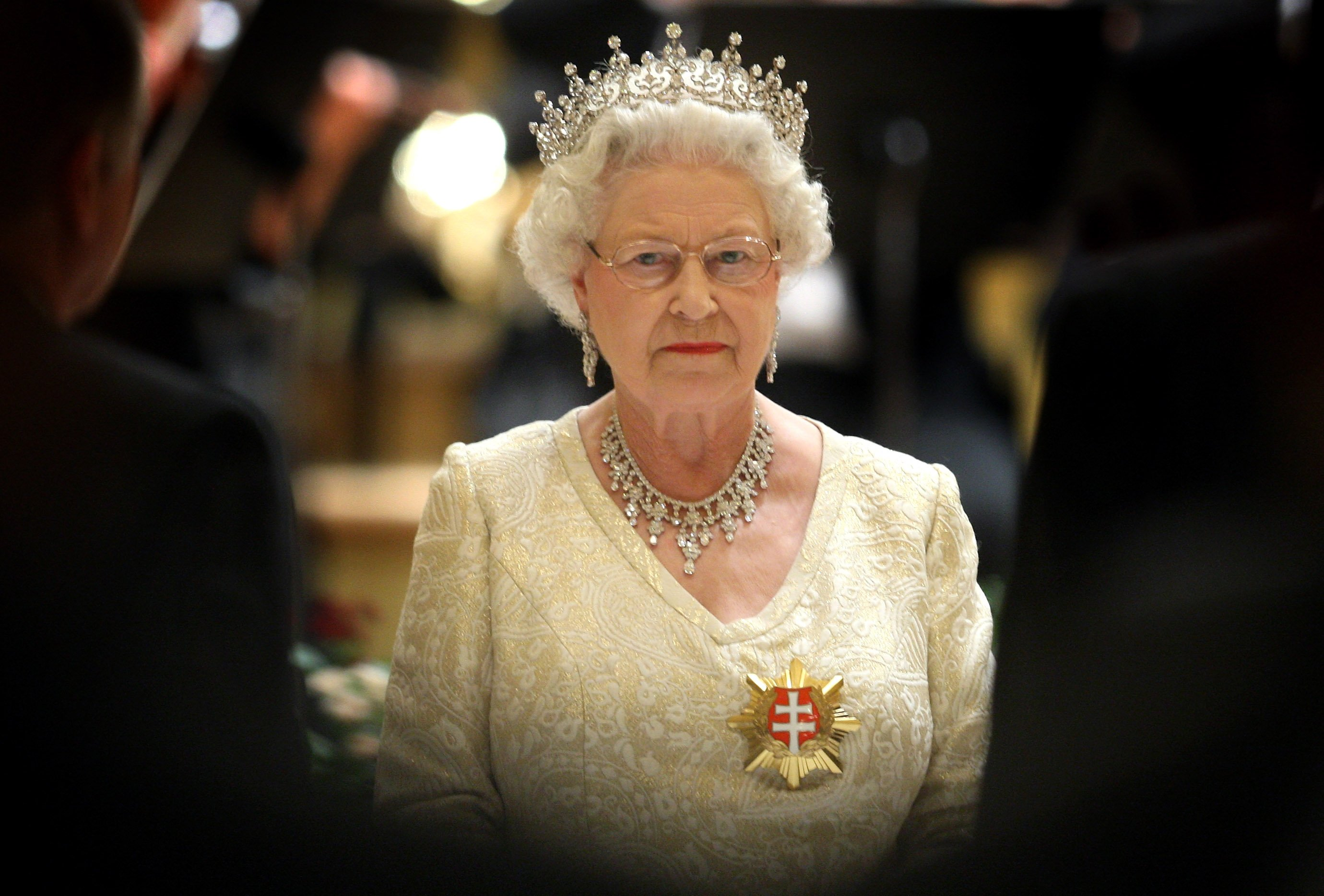Queen Elizabeth II pictured at a State Banquet at the Philharmonic Hall on the first day of a tour of Slovakia, 2008, Bratislava, Slovakia.   Photo: Getty Images